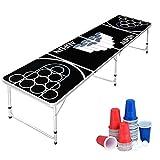 Aufun Juego de mesa Beer Pong, incluye 100 vasos (50 rojos y 50 azules), 5 pelotas, mesa de...