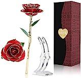 Rosa de Oro 24K,Rosa Eterna Flores Chapadas en Oro con Base Soporte Transparente y Caja de...