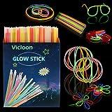 Vicloon Barras Luminosas, Pulseras Luminosas con Variedad de Conectores, Kits para Crear Gafas,...