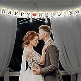 Bandera de Happy Wedding, Bandera Empavesado de Boda con 8 Modos Parpadeos Luz de Cadena de...