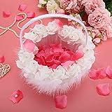 Duokon - Cesta para Flores de Boda, diseño de Encaje con pedrería, Color Blanco