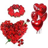 Kit Romántico de Velas y Pétalos. 50 Velas en Forma de Corazón + 1000 Pétalos de Rosa Roja...