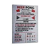 zhaoyao Póster de lienzo de Reglas de Beer Pong y arte de pared con impresión moderna para...