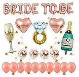 Globos oro rosa decorados para despedida de soltera, 1 pcs BRIDE TO BE letras, 14 piezas de...