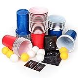 AOLUXLM Tazas de plástico, 50 Tazas de Cerveza Pong Tazas de Fiesta con 10 Bolas de Cerveza...
