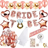 MMTX Hen party decoración para bodas fajín de novia velo bodas bandera Confetti Oro rosa...