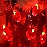 Luces de Cadena de Corazón Rojo de San Valentín, Luces Decorativas Centelleantes de Exterior...