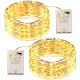 Guirnalda Luces 12M 120 LED, OMERIL Luces LED Pilas 2 Pack, Luces Navidad de Cálida Amarilla y...