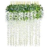 12 Piezas Flores Artificiales Plantas Decoración - YQing Seda Wisteria Artificial Flores...