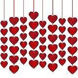 Rorchio Guirnaldas de corazón rojo, Decoración de San Valentín, adorno de cortina para...