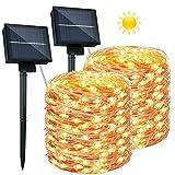 2 Guirnaldas Luces Exterior Solar - 26M 240 LED Cadena de Luces Impermeable IP65 8 Modos...