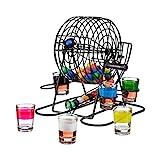 Relaxdays Juego para Beber Bingo, 6 Vasos de Chupito, Manivela y 48 Bolas, Metal y Plástico,...