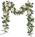 U'Artlines Juego de 2 (4,0m en Total) Guirnalda de Rosas Artificiales Flores Colgantes...
