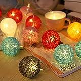Bolas de algodón LED cadena luz - ELINKUME 20LED RGB linterna luces de hadas iluminación...