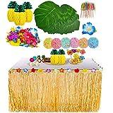 YQing 117 Piezas Hawaiano Luau Falda de Mesa Set de decoración, Decoración de Fiesta Tropical...