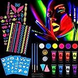 HOWAF Pinturas Faciales y Pintura Corporales, UV Luz Negra Pintura Fluorescente Maquillaje Cara...