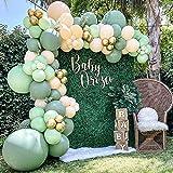 Kit de arco de globos verde salvia,108 piezas arco de globos para cumpleaños verde oliva,...