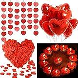 MMTX Set de Deco para el Día de San Valentín,Globos Corazon Rojo,Pétalos de Rosa, Velas en...